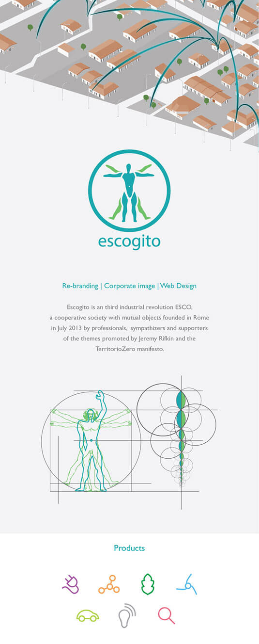 Corporate image e branding for Escogito, third industrial revolution ESCO funded in Rome in July 2013